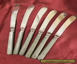 Lovely Antique Butter Knives with Sterling Silver Collars for Sale