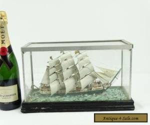 Antique Scratch Built 3 Masted Schooner Delrio Model Ship In Case America for Sale