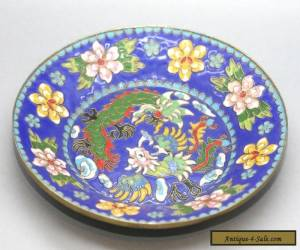 Most Exquisite Antique Chinese Hand Painted Cloisonne Dragon & Phoenix Plate for Sale