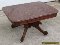 1870-80s SOLID WALNUT VICTORIAN ROSE MARBLE TOP COFFEE TABLE STAND