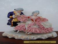 Antique Victorian German Dresden Lace Porcelain Couple  Figurine.
