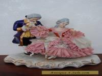 Antique Victorian German Dresden Lace Porcelain Couple  Figurine.