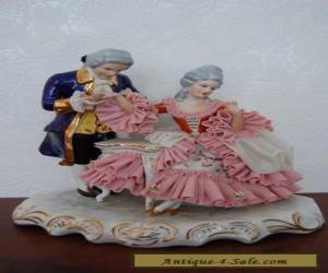 Antique Victorian German Dresden Lace Porcelain Couple  Figurine. for Sale