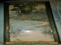Vintage Framed Art Nouveau Nature Water Print or Watercolor