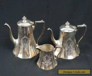 Antique American Silver plate Tea & Coffee Set HOMAN MFG Company Quadruple Plate for Sale