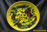 Chinese Ming Dynasty Imperial Yellow Dragon Plates with Unusual Mark for Sale