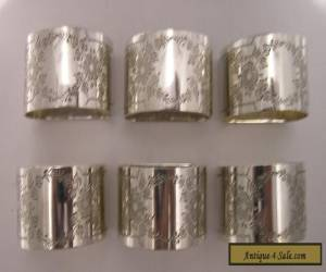Vintage Set of Six Engraved Silver Plated Napkin Rings for Sale