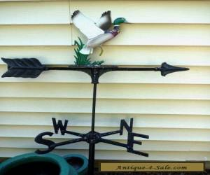 Vtg Cast Aluminum Mallard Duck Rooftop Weathervane Directionals Weathered Finish for Sale