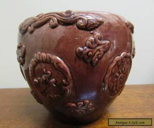 Chinese motif Green Brown drip glaze jardiniere ear for Sale