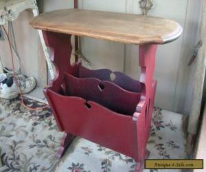 """24"""" Tall Antique Vintage Wood Magazine Book Rack End Side Table for Sale"""