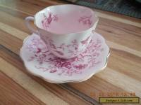 Vintage Coalport Cairo Pattern Teacup and Saucer Pink Peacocks and Butterflies