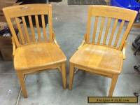 Vintage Antique Oak Wood Slat Back School / Office / Side Chairs (2)