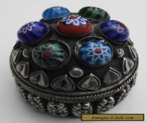 Antique continental silver trinket box decorated with millefiori glass beads for Sale