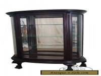 Antique 19th Century Oak Clawfoot Beveled Bow Glass China Cabinet
