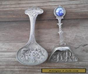 Two ornate silver metal tea caddy spoon Dutch Delft windmill cameo for Sale