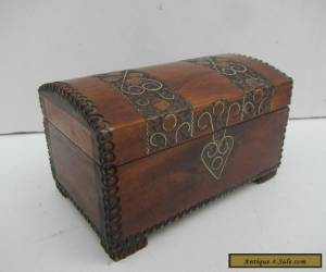 Vintage 'Treasure Chest' Style Wooden Trinket Box for Sale