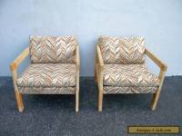 Pair of Vintage Mid-century Oak Living Room Side by Side Chairs 4066