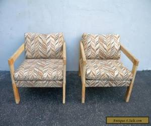 Pair of Vintage Mid-century Oak Living Room Side by Side Chairs 4066 for Sale