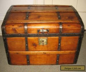 ANTIQUE STEAMER TRUNK VINTAGE VICTORIAN RUSTIC WOODEN STAGECOACH CHEST C1870 for Sale