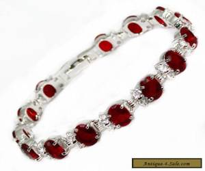 Fascinating Vogue style jewelry 18k white gold RED gem bracelet 8 inches.+box for Sale