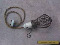 Antique / Vintage Industrial Hanging Light W/ Wire Bulb Cover