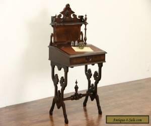 Victorian 1870's Antique Carved Walnut Secretary Desk, Leather Top for Sale