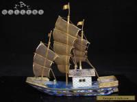 Antique / Vintage Chinese Cloisonne Enamel Ship / Junk