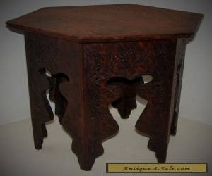 Antique Vintage Carved Wood Middle Eastern Moroccan Style Tea Side Table Hexagon for Sale