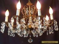 Vintage MCM Ornate French Brass & Crystal Chandelier 8 Light
