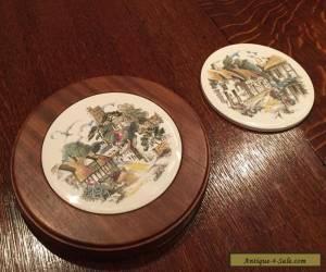vintage Hand painted ceramics tile (wood framed) table mat England 22cmx2.5cm  for Sale