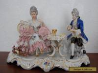 Antique German Dresden Lace Porcelain Couple Gambling Figurine.