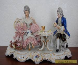 Antique German Dresden Lace Porcelain Couple Gambling Figurine. for Sale