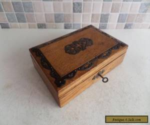 LOVELY VICTORIAN 19thC SOLID OAK BOX WITH METAL DECOR - GOOD WORKING LOCK & KEY for Sale