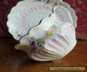 Vintage Unmarked Hand Painted Pastel Bone China Tea Cup Set - Violet & Yellow  for Sale