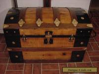 Ladycomet Victorian Refinished Dome Top Steamer Trunk Antique Chest w/Key