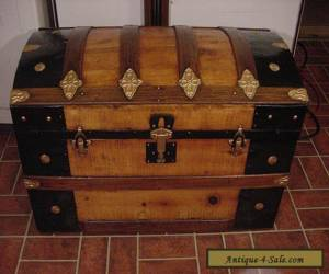 Ladycomet Victorian Refinished Dome Top Steamer Trunk Antique Chest w/Key for Sale