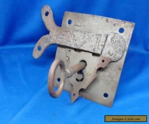 Antique Vintage Steel Jail Key Lock Set  Mechanism & Rosette Plate for Sale