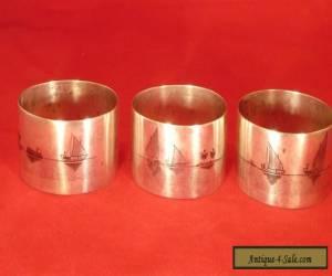 ANTIQUE SILVER NIELLO NAPKIN RINGS IRAQ/PERSIA C 1900 for Sale