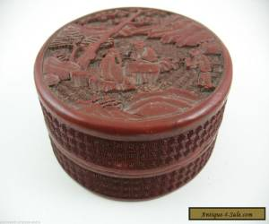 Antique Chinese cinnabar lacquer round box for Sale