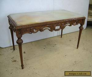 Antique Vintage Beautiful French Louis XVI Carved Marble Onyx Top Coffee Table for Sale