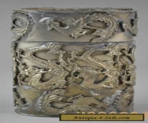 collectible china handwork tibet silver carving dragon phoenix toothpick box  for Sale