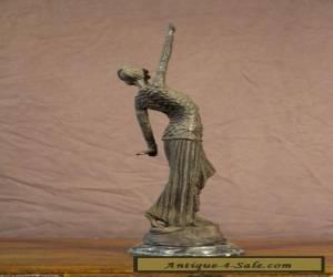 50cm TALL antique bronze marble LADY DANCER STATUE Art Deco sculpture Chiparus  for Sale