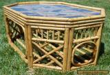 1960s Vintage Bamboo Rattan Glass Top Coffee Table Mid Century Phillippines Tiki for Sale