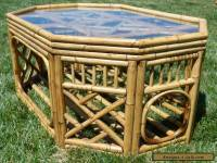 1960s Vintage Bamboo Rattan Glass Top Coffee Table Mid Century Phillippines Tiki