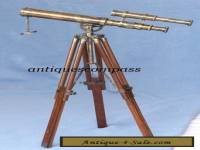 Nautical Brass Marine Harbour Double Barrel Telescope Spyglass With Tripod Stand
