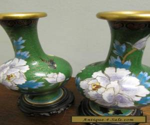 Chinese Cloisonne Vases Chrysanthemum motif vintage  Mirrored Pair   for Sale