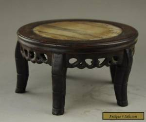 chinese exquisite manual Mosaic jade wood table  for Sale