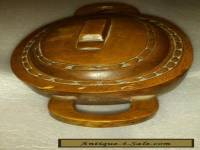 Antique Wooden Hand Carved Bowl with lid and handles
