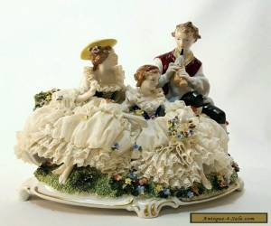 UNTERWEISSBACH Porcelain Dresden Lace Figural Group German PASTORAL Trio Bagpipe for Sale