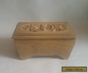 Vintage Floral-Carved Wooden Box with Hinged Lid. Jewellery/ Keepsakes. Alpine? for Sale